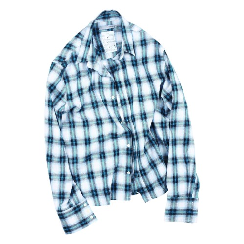 CROP CUT CHECK SHIRT SEA BLUE