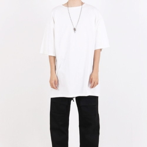 SUPER OVERFIT BOAT NECK T-SHIRT WHITE