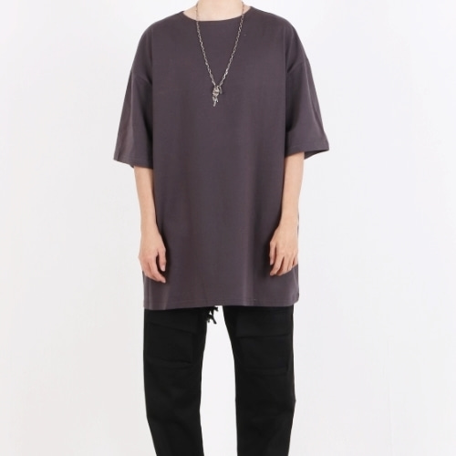SUPER OVERFIT BOAT NECK T-SHIRT CHARCOAL