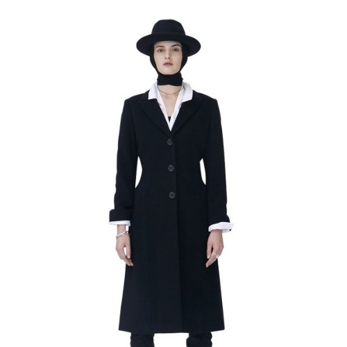 BLACK WOOL HOURGLASS WAIST COAT