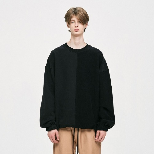 PANEL SWEATSHIRT - BLACK/BLACK