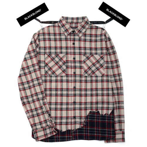 BBD LAYERED CHECK SHIRT BEIGE
