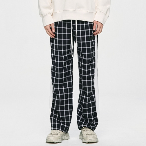 CHECK LOUNGE PANTS - NAVY/WHITE