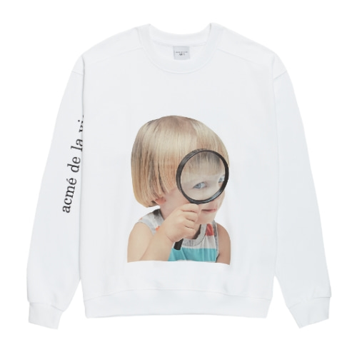 ADLV BABY FACE SWEAT SHIRTS WHITE MAGNIFIER