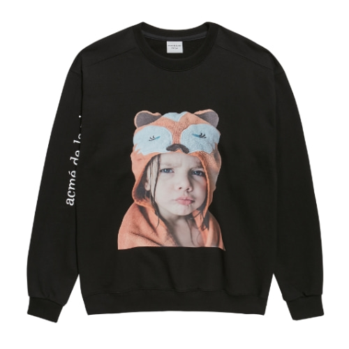 ADLV BABY FACE SWEAT SHIRTS BLACK RACCOON