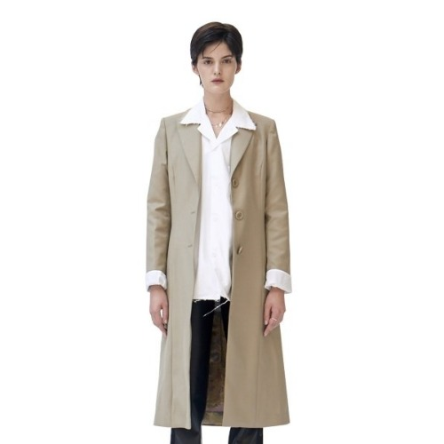 BEIGE FLOWER LINING WOOL COAT