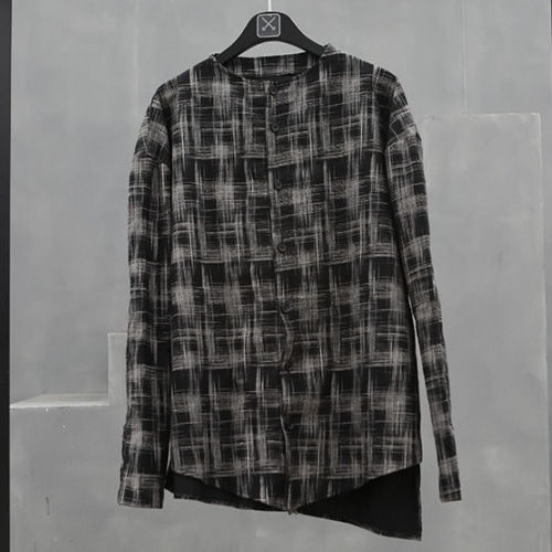 SLASH CHECK NO COLLAR SHIRT BLACK/YELLOW