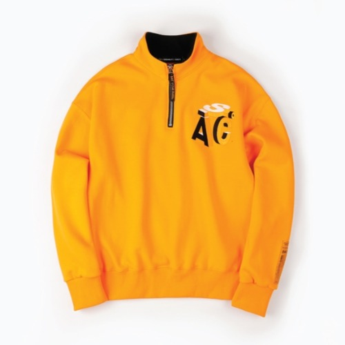 QUARTER ZIP UP PULLOVER ORANGE