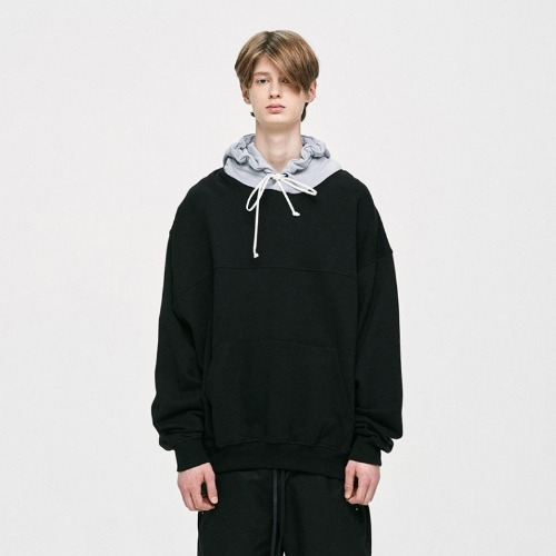 CONTRAST HOODIE - LIGHT GREY / BLACK