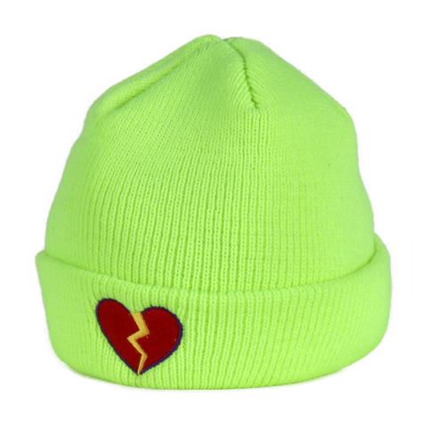 BROKEN HEART BEANIE NEON YELLOW
