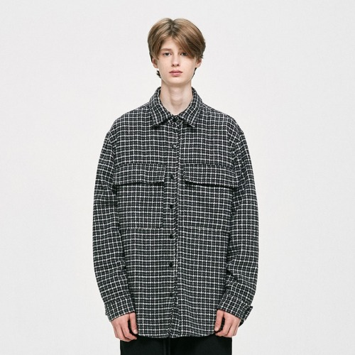 OVERSIZED CHECK SHIRT - BLACK