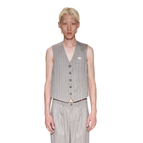 EMBROIDERED VEST GREY