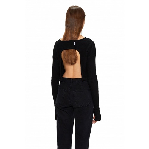 BLACK BACK OPEN VELCRO BLOUSE
