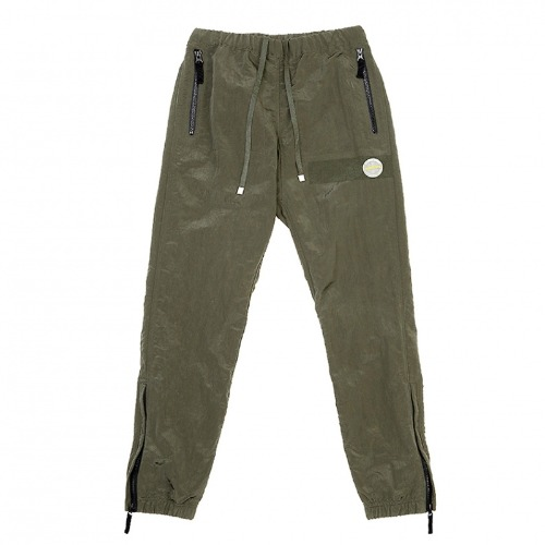 METALLIC WARM UP PANTS OLIVE