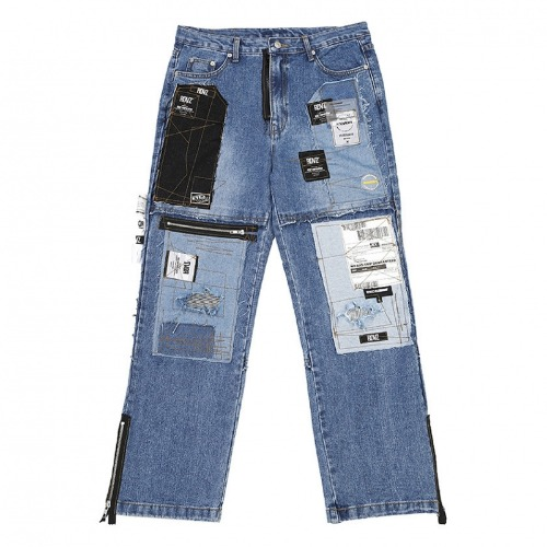 MULTI LABEL BLOCK CUSTOMIZE DENIM PANTS WASHED BLUE