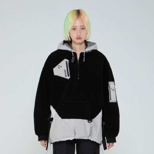 HEAVY FLEECE MA-1 ANORAK BLACK 0090