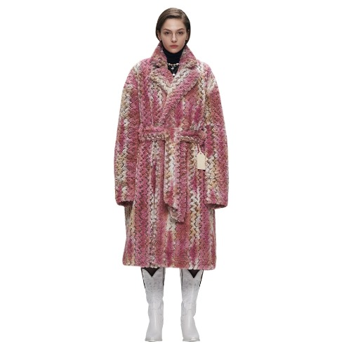 PINK TEXTURED FUR WARP COAT