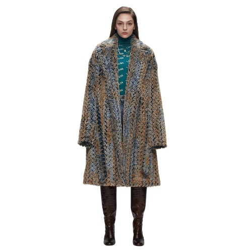 NAVY TEXTURED FUR WARP COAT