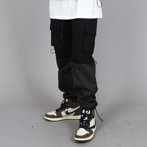 TWO TONE CARGO STRING PANTS BLACK