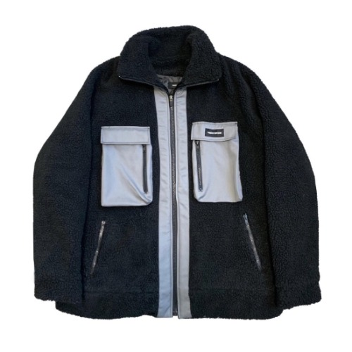 OVERSIZE FLEECE JACKET BLACK