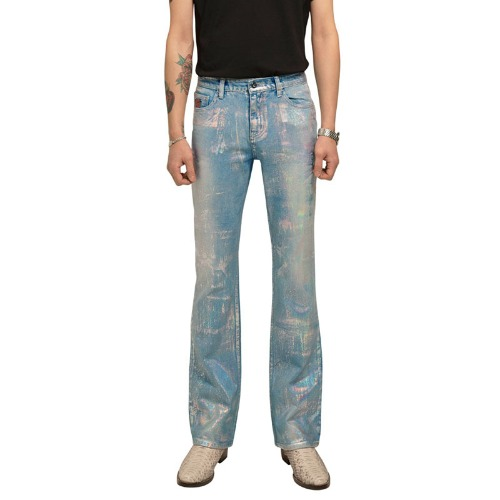HOLOGRAPHIC BLUE CUT JEAN