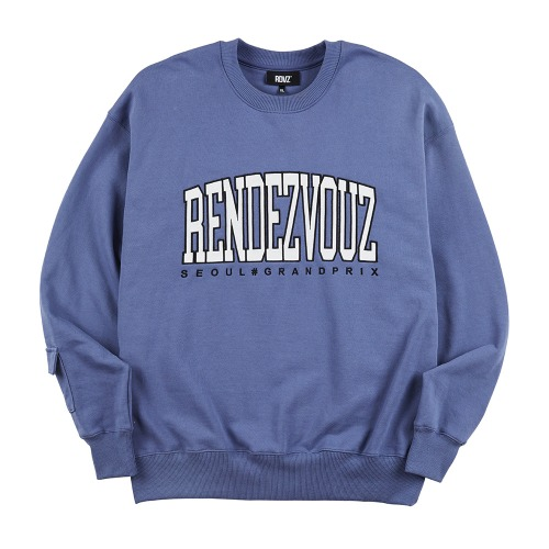 APPLIQUE SWEAT TOP BLUE GREY