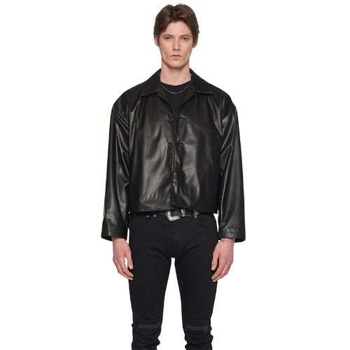 FAUX LEATHER LOGO EMBOSS JACKET
