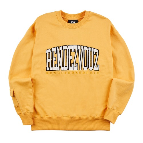APPLIQUE SWEAT TOP MUSTARD