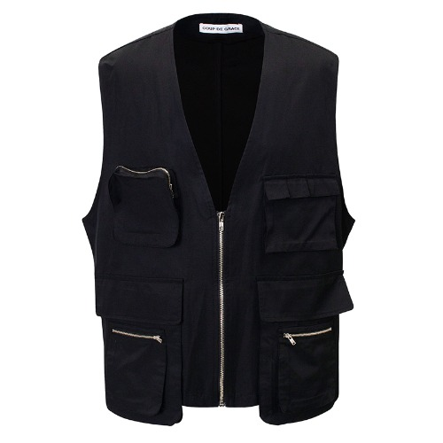 MULTI POCKET VEST BLACK