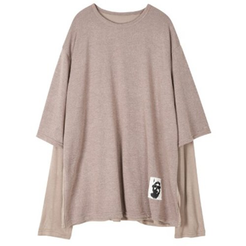 LAYERED PACTCH SLEEVE BEIGE