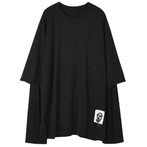 LAYERED PACTCH SLEEVE BLACK