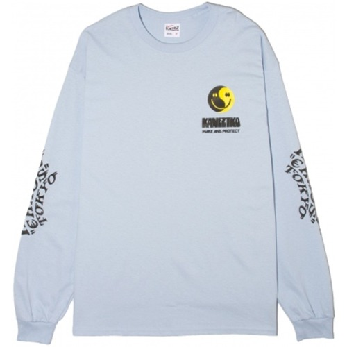 CHAOS SMILE LS TEE (WHITE LT BLUE)