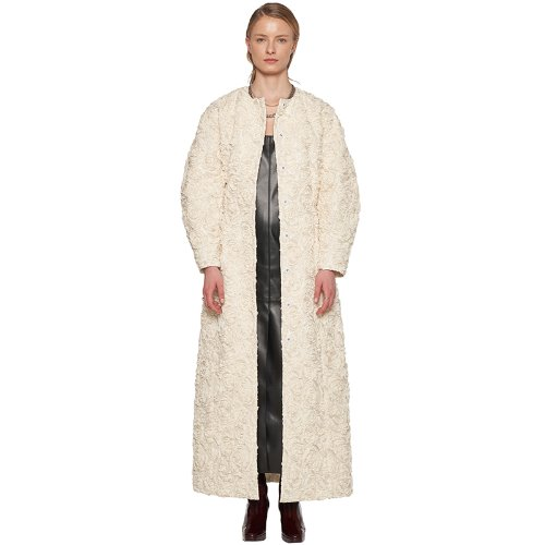 IVORY PUFFED SLEEVES ROSE COAT DRESS