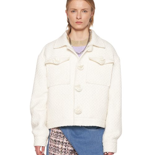 WHITE TWEED FLOWER BUTTON JACKET