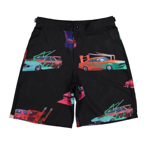 SPEED TRIBE RAYON SHORTS BLACK