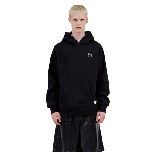 BLACK EMBELLISHED COMMA HOODIE (BLACK)