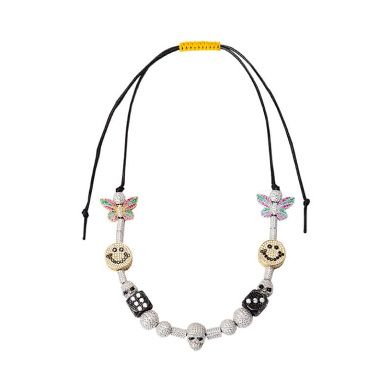 ICE SMILEY PEARL CHARMS NECKLACE (EVAE+ MOB X ICE MOB INC)