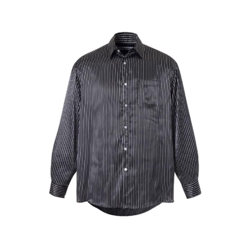 [SEASON OFF SALE] OVERSIZED STRIPE SILKY SHIRT BLACK