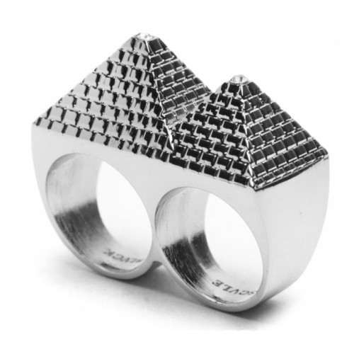 [BLACK SCALE] PYRAMID 2 FINGER RING (SILVER)