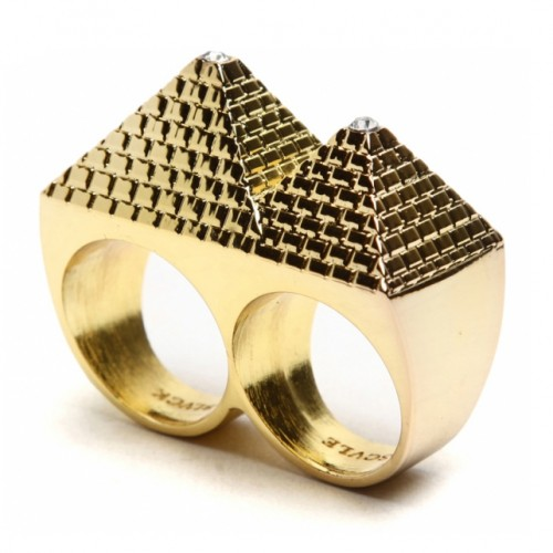 [BLACK SCALE] PYRAMID 2 FINGER RING (GOLD)