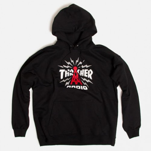 [THRASHER] Radio Pullover Hooded Sweatshirt (BLACK)