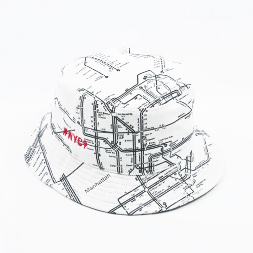 "[$ SHOP SALE] [KANEZ] ""WORLD METRO"" BUCKET HAT (WHITE)"