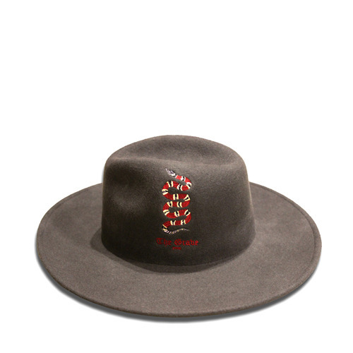 [THE GRAVE] SNAKE EMBROIDERY FEDORA(ASH)