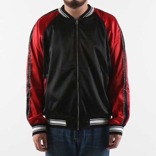 [쿠드그라스 연말 FINAL SALE] [EPTM] PLAIN SATIN JACKET (BLK/RED)