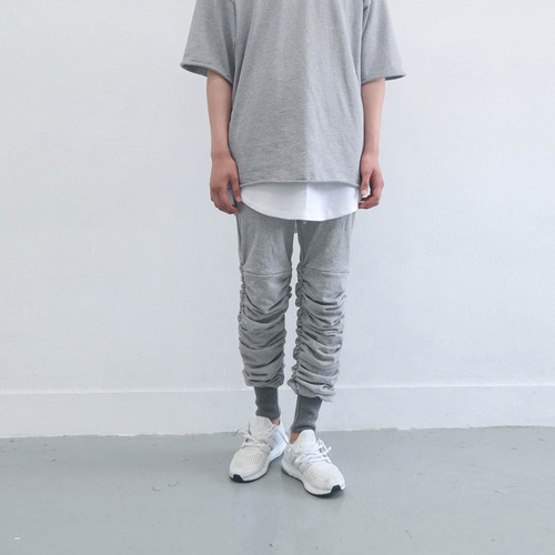 [XSACKY] SHIRRING JOGGER PANTS GREY