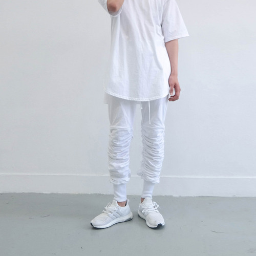 [XSACKY] SHIRRING JOGGER PANTS WHITE