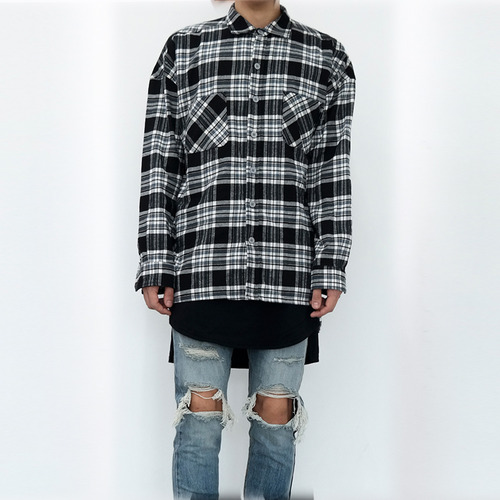 [XSACKY] SACKY FLANNEL CHECK SHIRT (BLACK)