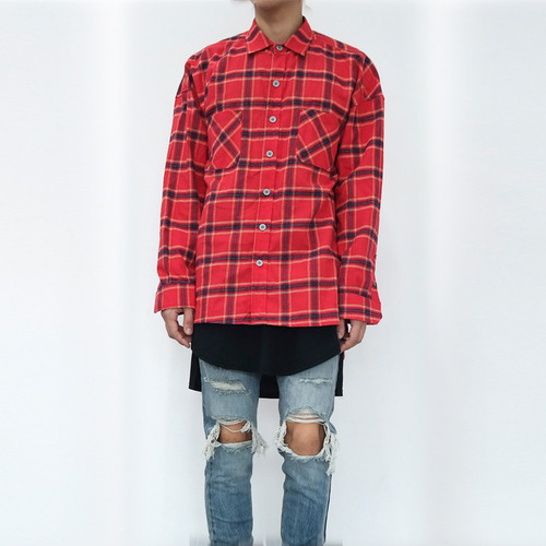 [XSACKY] SACKY FLANNEL CHECK SHIRT (RED)