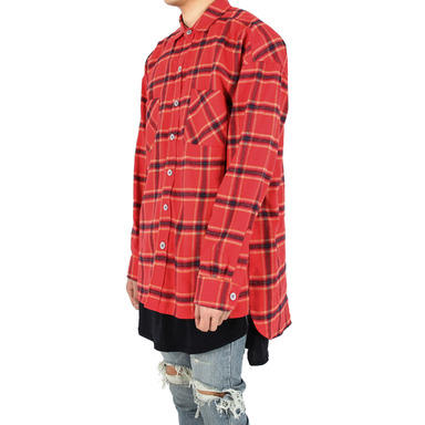 [XSACKY] FLANNEL CHECK SHIRT (RED)