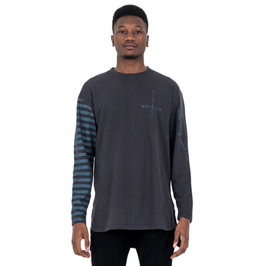 [SAINT SHOW] HALF STRIPE LONG SLEEVE T-SHIRT - DUST GREY/AGATE